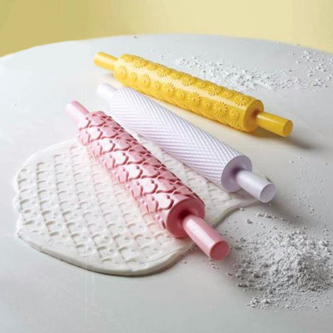 Flower Textured Embossed Roller Mold  Fondant Cake Decoration