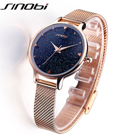 Galaxy design Luxury brand Quartz Watch Women Dress Casual Stainless steel 2018