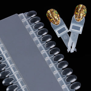 24Pcs Clear Color Card Removable Display Rack Nail Art Practice Tool