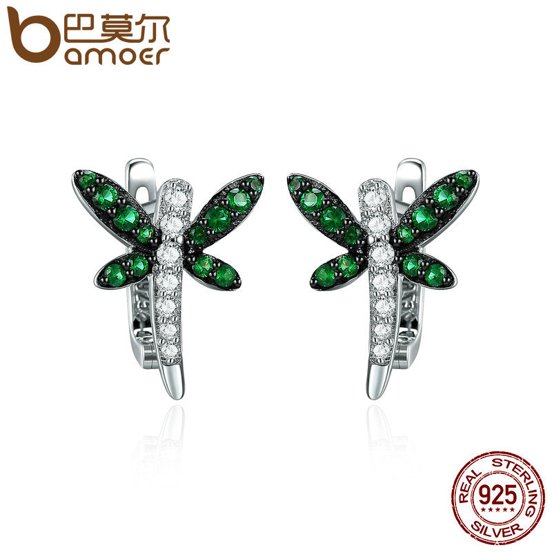 Authentic 925 Sterling Silver Dragonfly Whispers Clear CZ Hoop Earrings