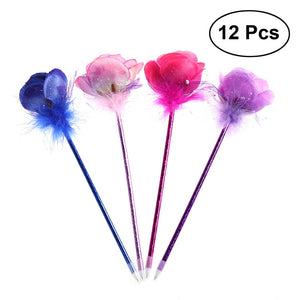 12pcs Mixed Four Colors Rose Flower Style Decorative Pens Flower Blue Ink Pens