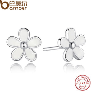 925 Sterling Silver Darling Daisy Stud Earring White Enamel With Clear CZ