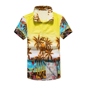 Men's Print Shirts Short Sleeve Big Size Cotton