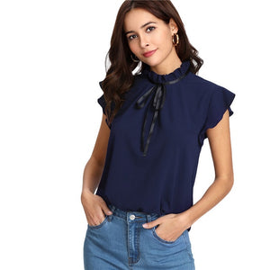 Tied Frilled Neck Button Back Shirt Navy Stand Collar Women Chiffon Blouse