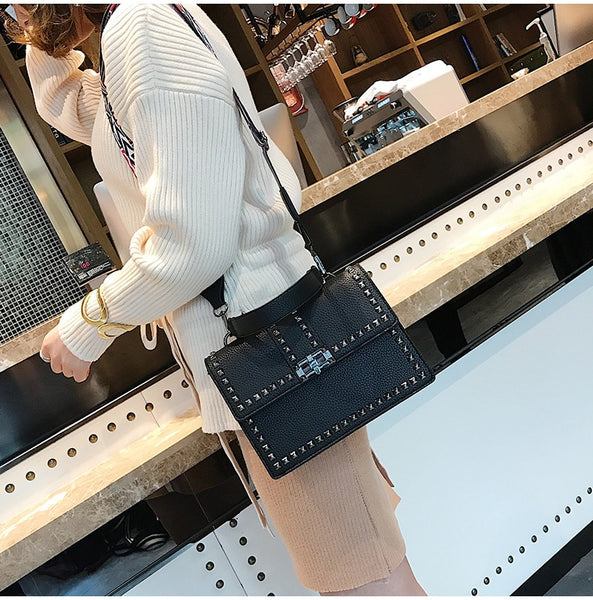 Cover Rivet Bag Girls Fashion Shoulder Bag Ladies PU Leather Handbags