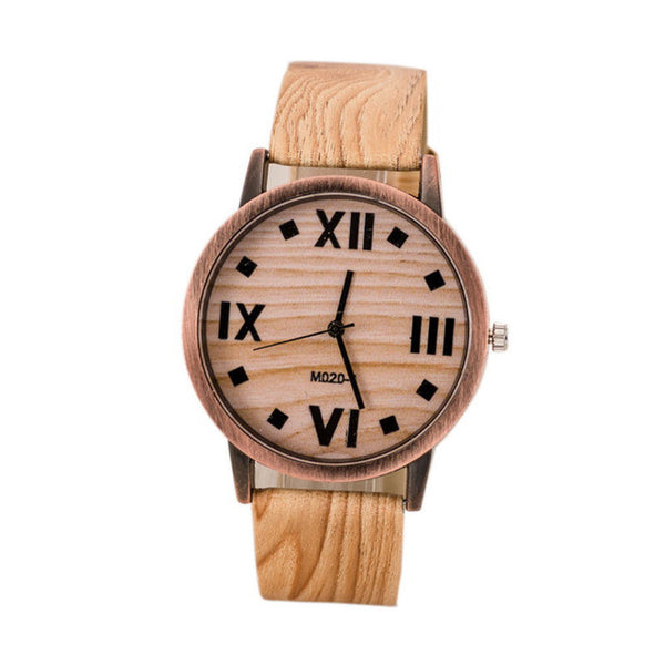 "Leather Quartz female Wrist Watches Roman Numerals Dark Brown Wood Stripe Battery Included 24cm(9 4/8"") long,"