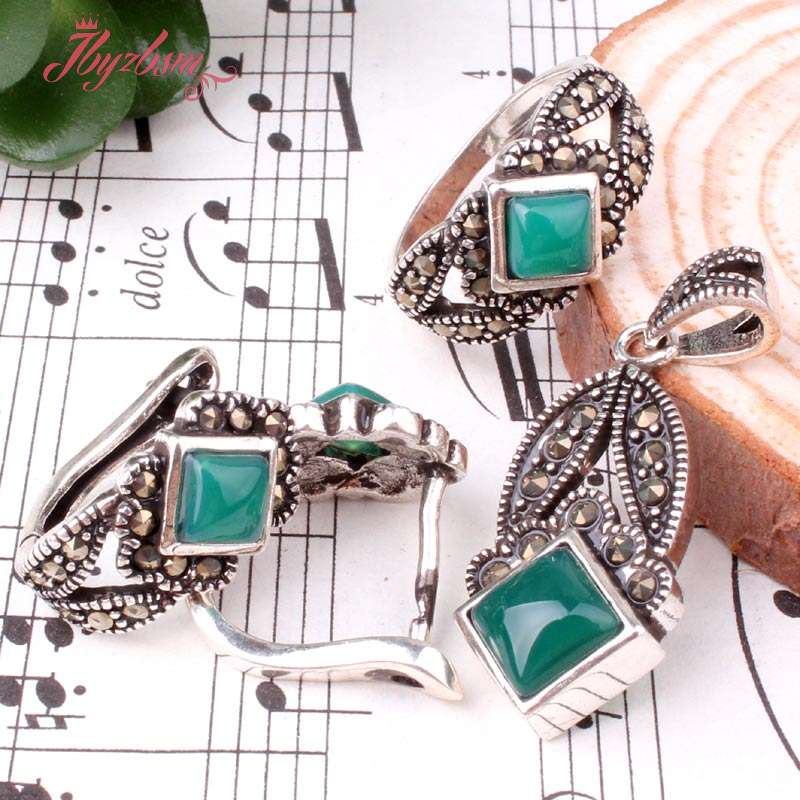 Green Agate Hand Mosaic Gem Stone Beads Tibetan Silver Fashion Style Earring Pendant Rings 1 Set
