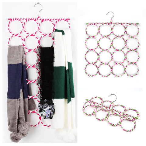 2 pieces Multi-function Scarf Shawl Scarf Belt Tie Hanger Holder Organizer Storage 16 Rings