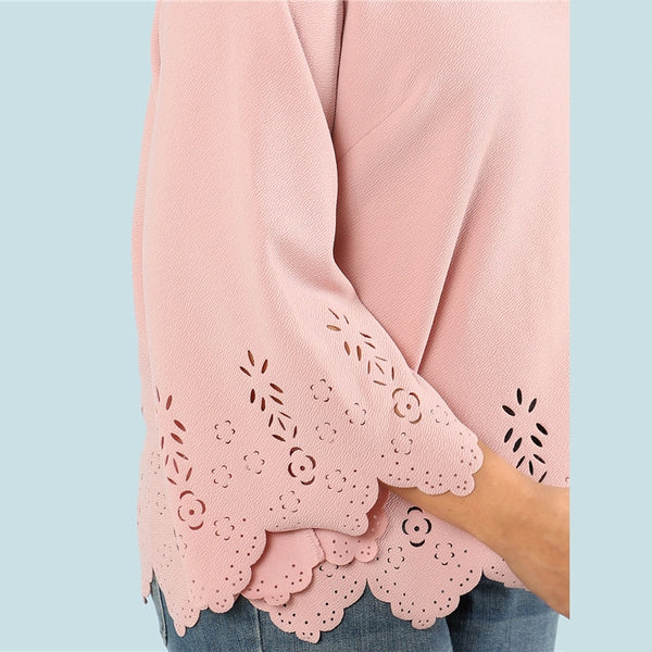 Cut Solid Top 2018 Summer Round Neck Three Quarter Length Flounce Sleeve