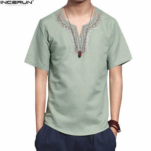 Men Solid Flax Short Sleeve Shirt Embroidery Casual shirt