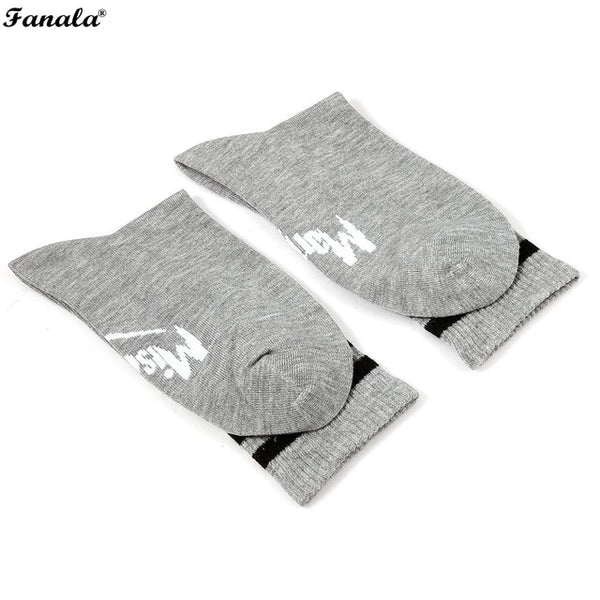 1 Pair Women Middle Elastic Contrast Color Letters Printed Socks