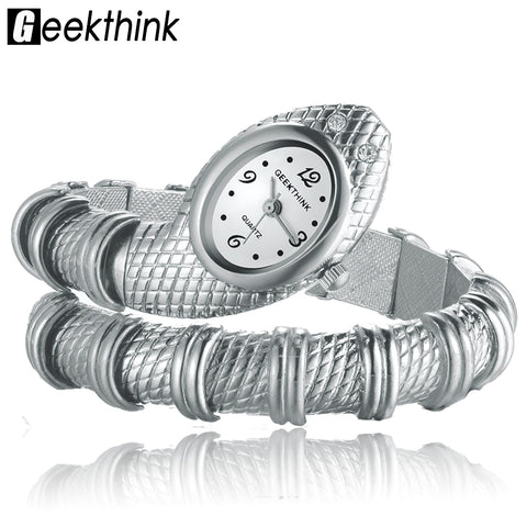 Unique Fashion Quartz Watch women Snake Shaped Bracelet Watch Diamond Ornaments Luxury Silver Gold