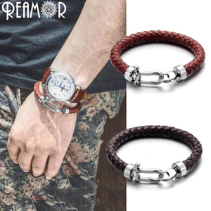 Genuine Braided Leather Men Bracelets 316l Stainless Steel Horseshoe Lobster Clasp