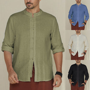 Men's Shirts Cotton Linen 5XL Folded Sleeve Mandarin Collar