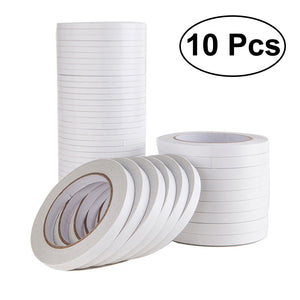 10Pcs 1.2x800cm Double-Sided Adhesive Tape for Arts Crafts Photography Gift Wrapping Office School Stationery