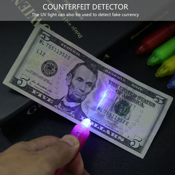 Invisible Ink Pen with UV Light Creative Stationery Marker Pen
