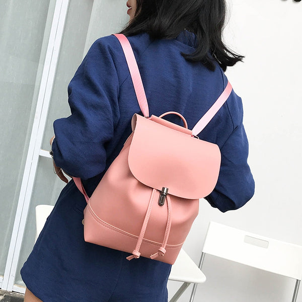 Classic Backpack Female Leather Backpacks Waterproof  Bag