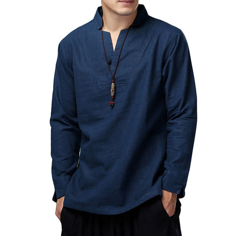 Mens Shirts Dress Cotton Linen Loose Autumn Long Sleeve Shirts V-Neck