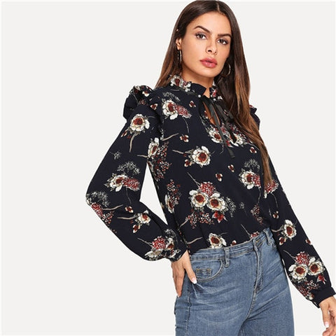 Highstreet Ruffle Detail Tie Neck Floral Long Sleeve Blouse 2018 Autumn top