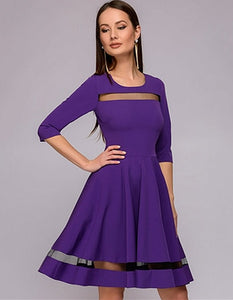 Spring Autumn Vintage Three Quarter Sleeve Dress O-Neck A-Line Patchwork