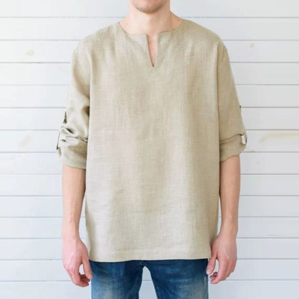 Men Long Sleeve Shirts Dress 100%Cotton V Neck Solid Loose Casual Shirts