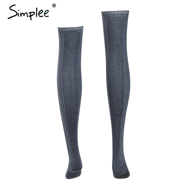 Knitted mesh women long stockings Winter autumn warm thigh high over the knee socks