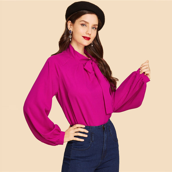 Pink Tie Neck Plain Top Vintage Stand Collar Long Sleeve Blouses Women Autumn