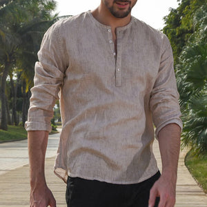 Long Sleeve Dress Henley Shirt Solid Loose Casual Shirts For Men