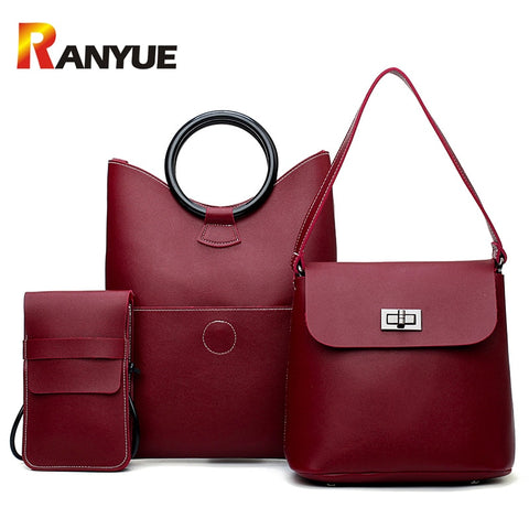 Soft Pu Leather 3 pieces  Shoulder Bag 2018 Female Lock Messenger Bag Small Phone Bag Set