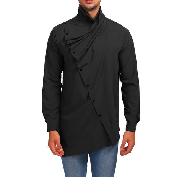 Solid Turtleneck Button Up Autumn Long Sleeve Shirt for Men
