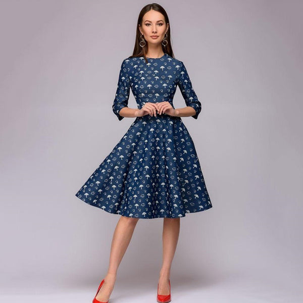 winter Dress Flower Print Half Quarter sleeve patchwork Dress Women casual