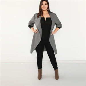 Grey Waterfall Collar Roll Tab Sleeve Office Wear Long Trench Coat 2018 Elegant Lady Outerwear