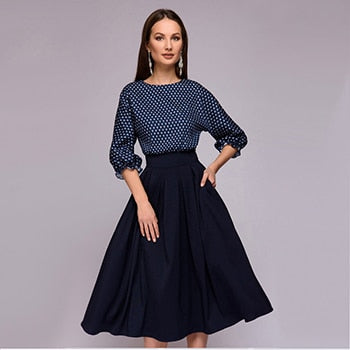 Flower Print Three Quarter sleeve patchwork Dress Women casual