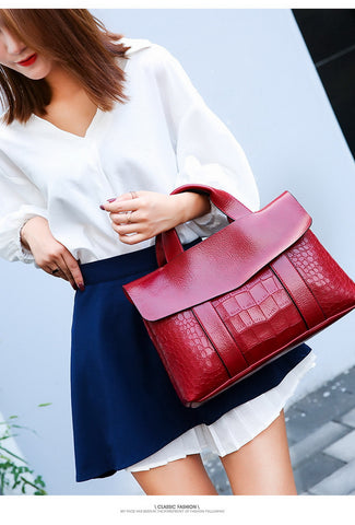 Double Layer Waxy Leather Handbag Luxury Crocodile Women Bags High capacity Bag PU Leather