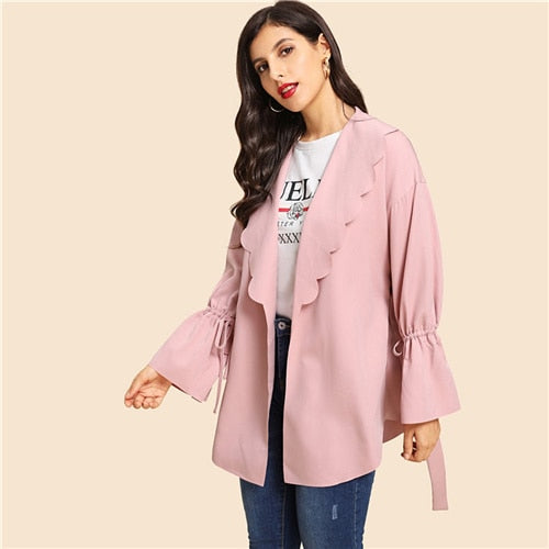 Pink Office Lady Elegant Drawstring Scallop Trim Knot Bell Sleeve Coat 2018 Autumn