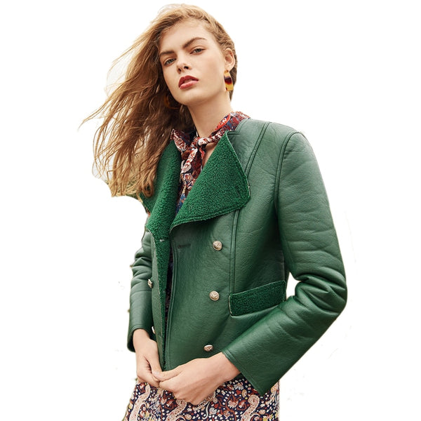 Green Weekend Casual Double Breasted Faux Coat 2018 Autumn Office Women Coats