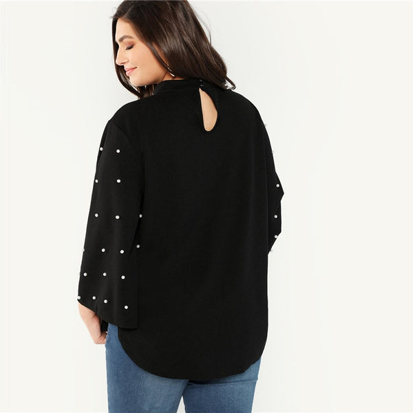 Black Stand Collar Pearl Beaded Long Flare Sleeve Stand Collar Women