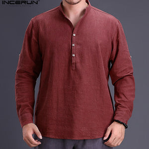 Long Sleeve Pullovers Cotton Shirts Stand Collar  Shirt Dress Autumn  Men Clothes