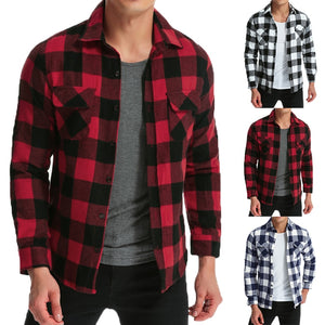 Hiphop Mens Shirts Lattice Long Sleeve Dress Shirt Turn Down Collar
