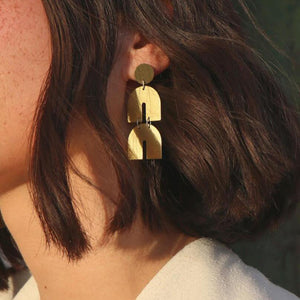 Gold Color Earrings For Women Two Horseshoe