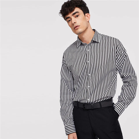 Black And White Minimalist Button Front Striped Long Sleeve Shirt