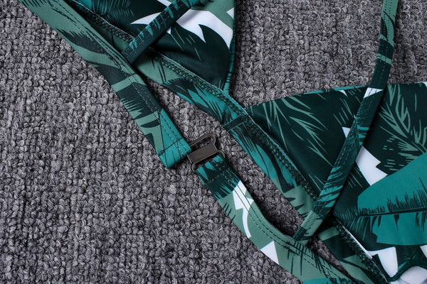 2019 Green Leaves Print Tie Strap Bikini
