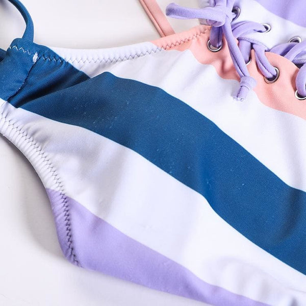 2019 New Fashion Striped Lace up Swimsuit