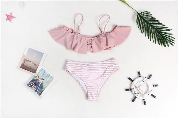 2019 Pink Ruffled Bikini High Waisted - pink / L