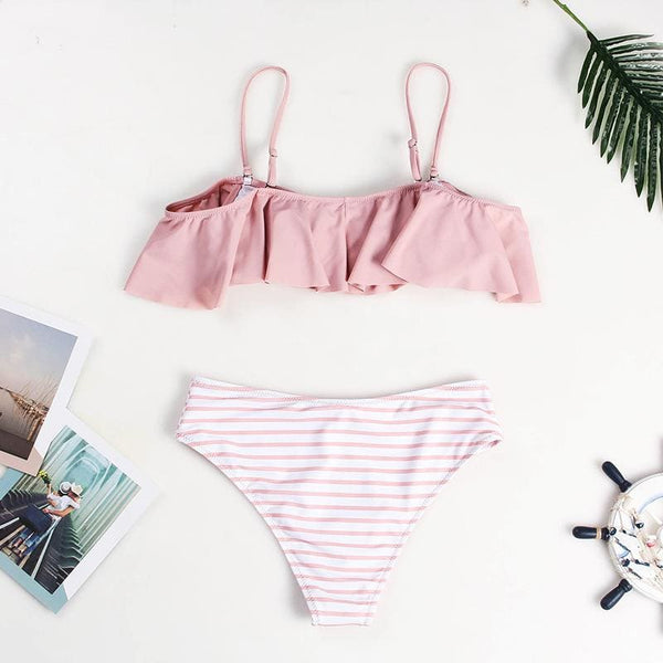 2019 Pink Ruffled Bikini High Waisted