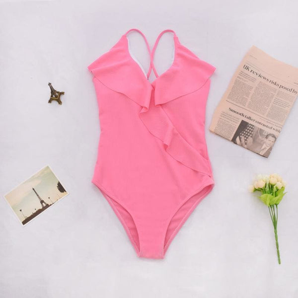 2019 Ruffled Pink One-piece Bodysuit Swimsuit - pink / L
