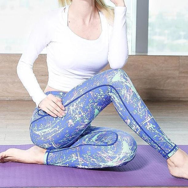 Blue Performance Sexy Yoga Leggings