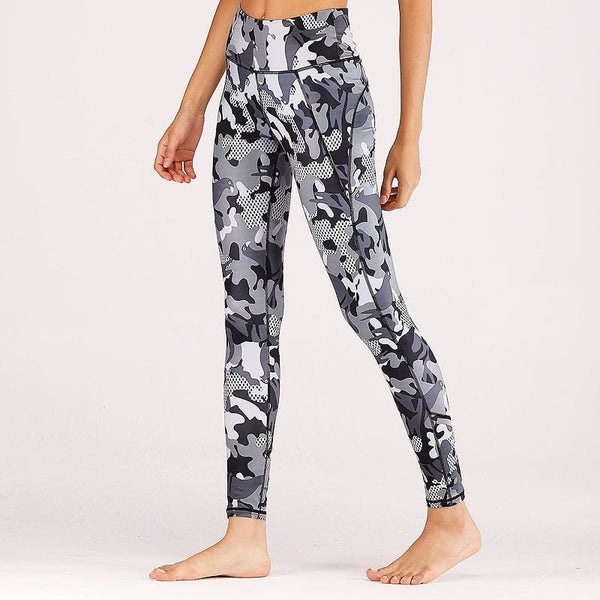 Camouflage Performance Leggings - Grey / L