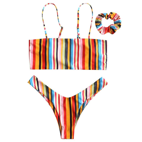 Colorful Striped Cami Bikini with Headband- Red& Green - red / L