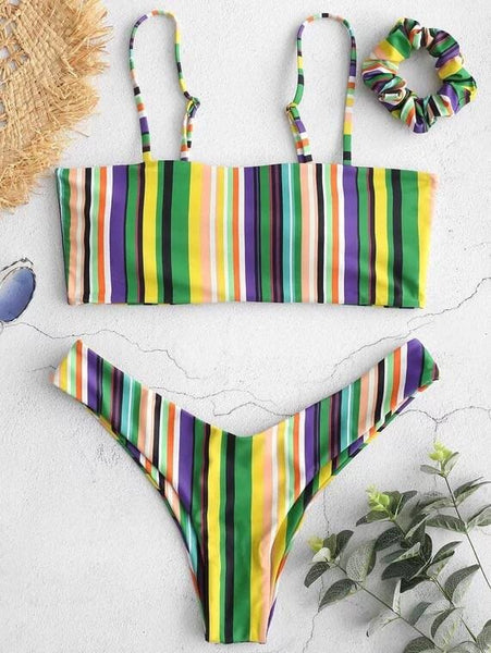Colorful Striped Cami Bikini with Headband- Red& Green - green / L